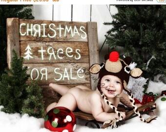 SUMMER SALE Baby Rudolph Reindeer Earflap Hat - Crochet Newborn Beanie Boy Girl Costume Christmas  Photo Prop Cap Winter Outfit