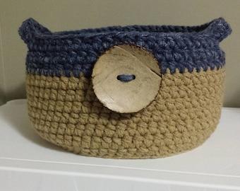 Denim Blue / Tan Crochet Baskets