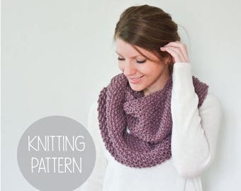 FLASH SALE KNITTING Pattern - easy tiny seed stitch knit scarf - the bloom infinity