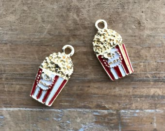 1 - Popcorn Charm - Enamel Gold Brass Vintage Style Pendant Charms Jewelry Supplies (AT097)