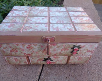 Shabby Chic- Cottage Chic -French -Roses -jewelry Box