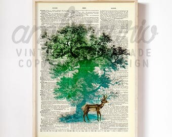 Spirits of the Forest Original Princess Mononoke Inspired Collage Print on an Antique Unframed Upcycled Bookpage