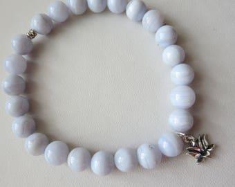 Blue Lace Agate 8MM Stretch Sterling Silver Charm Bracelet