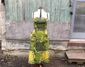 1950s Green Barkcloth Dress