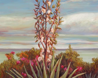 Succulent Prints, Yucca beach prints,SAVE15%CODE:SAVE15, Butterfly Beach, Yucca Canvas print, Yucca art, beach art on canvas