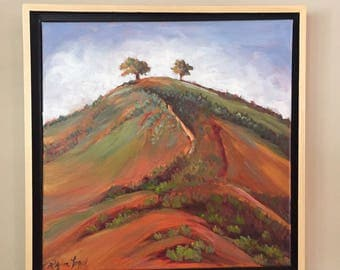 Two Trees, landscape oil painting, Ventura Oil Painting, two tree oil painting, landscape painting, california painting,