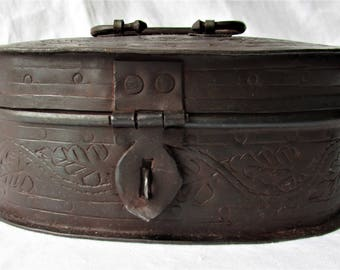 Brass hand worked metal box with lid and handle, with latch for lock