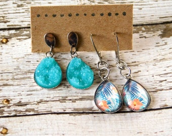 Drop Earring Set - Tropical Blue Glass and Druzy
