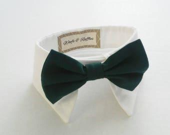 Dog Tuxedo, Dog White Shirt Collar and Dog Hunter Green Bow SET - Pet Bridal Clothes, Pet Clothes, Dog Clothes, Pet Tuxedo, Pet Bow Tie