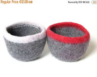ON SALE WOOLY Felted Bowls - two felted bowls - two-toned grey with red and white 10