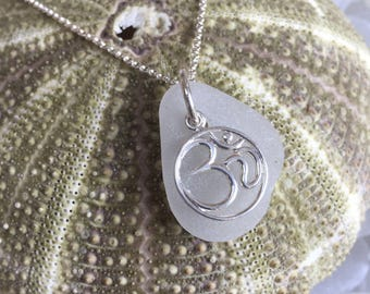authentic white frosted sea glass Ohm necklace, Om pendant sea glass necklace, sterling silver sea glass necklace, white frosted sea glass
