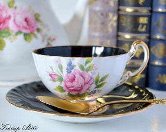 Aynsley Black Teacup and Saucer Set With Pink Roses, English Bone China Tea Cup, Replacement China, ca. 1934