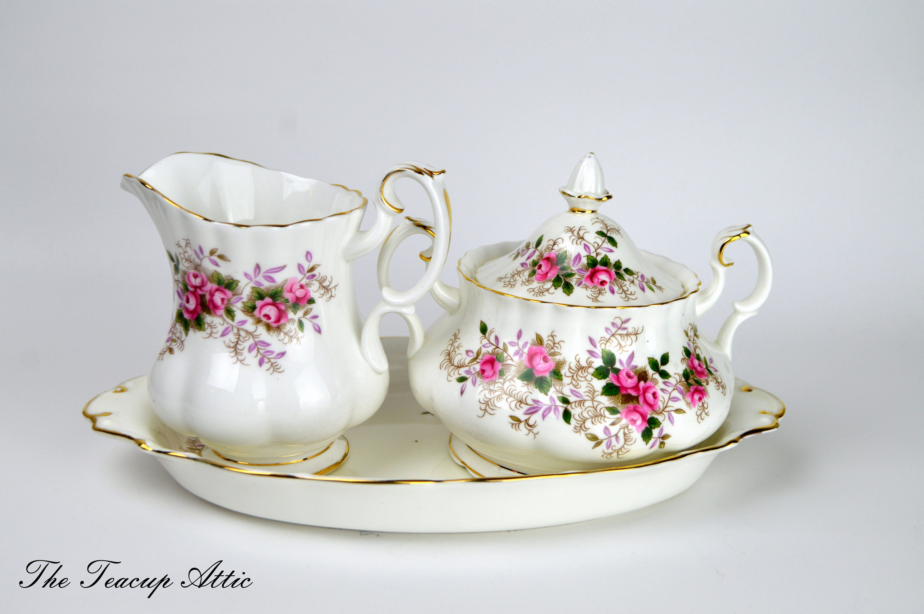 Royal Albert Lavender Rose Cream and Sugar Set With Tray, Replacement china, ca. 1961