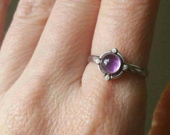 Vintage Sterling Silver Amethyst Ring Size 8, Simple Gemstone Ring, Handmade 925 Sterling Silver Ring, Amethyst Cabochon Semi Precious Ring