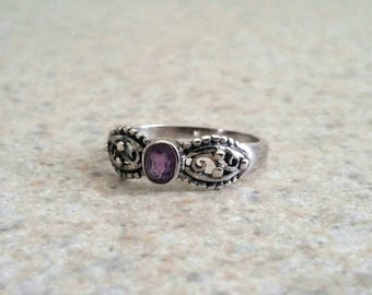 Vintage Sterling Silver Amethyst Ring Size 7 - Victorian Style Handmade 925 Sterling Silver Ring, Sterling Filigree Ring, Gemstone Ring