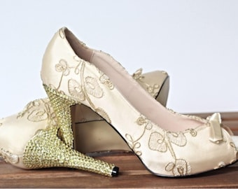 Wedding Shoes, Peep Toe Wedding Shoes, Metallic Leaves, Gold Metallic Wedding, Bridal Shoes, Custom Shoes