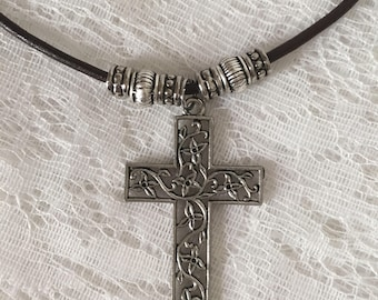 Leather Cord Necklace With Cross Pendent