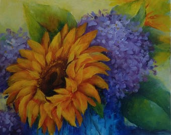 "Yellow Sunflowers & Purple Hydrangea in Blue Vase, 8"" X 8"""