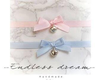 Baby pink Light Blue Satin Bow Neko bell Choker Necklace Jewelry Handmade ,  Lolita cutiepie cutie Kawaii