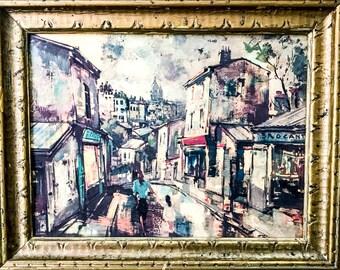 "Mid 19th Century Framed Painting ""Scene in Paris"" by Artist J. Warner"