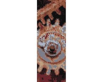 Rusty Gear Peyote Bead Pattern, Bracelet Cuff Pattern, Bookmark, Seed Beading Pattern Miyuki Delica Size 11 Beads - PDF Instant Download