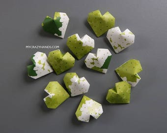 20 origami balloon hearts || green heart favors || Irish wedding hearts || bridal shower favors | limited qty -spring garden