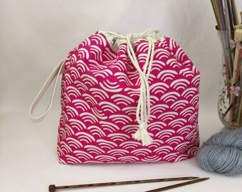 Medium Super Draw Project Bag - Pink Waves