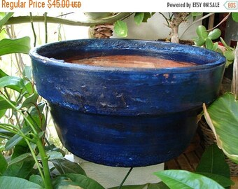 3 day SUMMER SALE 15% OFF vintage glazed terracotta planter pot ,old,crusty blue glaze,large,round,shallow plant pot