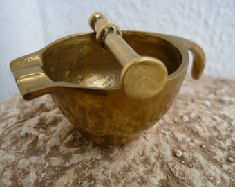 Antique French,solid brass,miniature,pestle & mortar,pharmacy,apothecary mixing pot