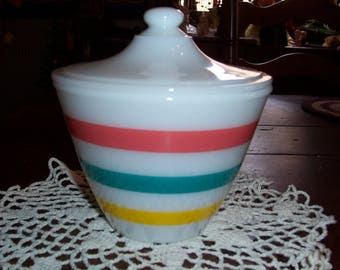Vintage Fire King Colonial Band Stripes Grease Jar...Mid Century Fire King Grease Jar..
