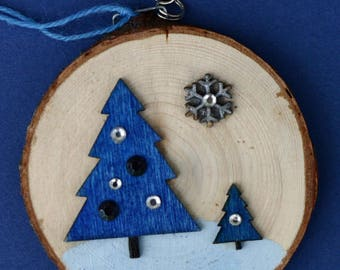 Blue trees Christmas ornament, wood slice ornament, birch slice, tree slice, art on wood, winter, snow, handmade, natural, evergreen