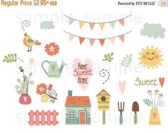 Garden, Planner Stickers, Flowers, Banners, House, Yard, Sun, Clouds, Heart, Bird, Sweet, Erin Condren, Plum Planner, Happy Planner