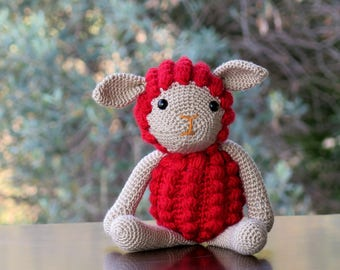 Sheep Lamb Knitted Toy / red Sheep / Easter Gift Kid's Toy / nursery decoration / Sheep Amigurumi / crochet Amigurumi Soft Toy