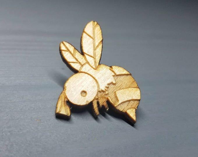 Herbert the Bee Pin | Laser Cut Jewelry | Wood Accessories