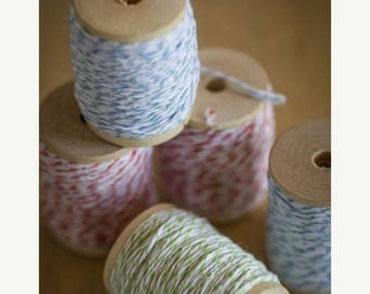 ON SALE 25 yards Colored Bakers Twine on a Wood Spool - Choose blue, green or orange cotton twine