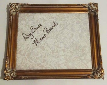 Gold Framed White Board, Ornate Dry Erase Board, Memo Board, Home Office Organization