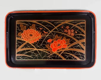 Lacquered Wood Serving Tray, Vintage Black Orange Floral, Chinoiserie Style