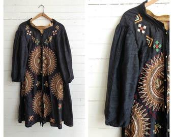 Vintage Indian silk jacket duster, silk coat dress, embroidered boho hippie raw silk coat small medium