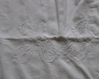Antique French linen  sheet with huge monogram AJ