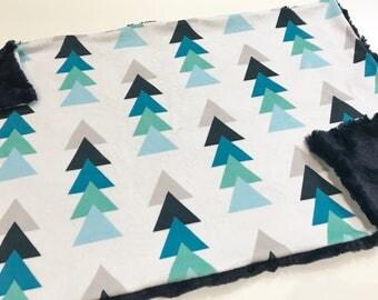 Navy Blue Triangle Trees Baby Blanket Lovey, Baby Boy Minky Lovey, Navy Woodland Blanket, Ready to Ship, Baby Boy Blanket