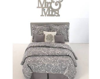 SPECIAL SALE SHADES Of Gray Custom Dressed Bed with Word Art - Dollhouse Miniature Master Bedroom 1:12 Luxury Double Bed Swirls Grey