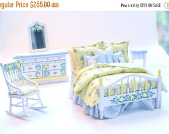 SPECIAL SALE YELLOW & Blue 5pc Hand Painted Dollhouse Miniature Bedroom Bed Set 1:12 Spring Morning