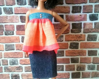 Color Blocking Denim Outfit for Barbie or similar fashion doll
