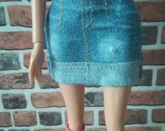 Distressed Denim Cuffed Mini Skirt for Barbie or similar size doll