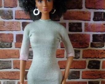 Silver/Gray Tie Dye T Shirt Dress for Barbie, or similar size fashion doll