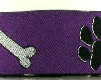 "Jacquard  Ribbon  Floral 1""  x 3 1/4 yards  Paws and Bones in Purple, Black and White"