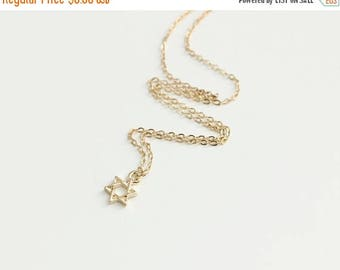 ON SALE Delicate simple everyday star of david gold necklace