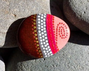 tiny tribal red / painted stones/ painted rocks / tiny art / small art / tiny painted rocks/ boho art / hippie art / tribal patterns / rocks