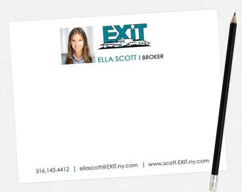 EXIT real estate flat notecards - EXIT personal stationery - thick, matte, full color both sides - free UPS ground shipping