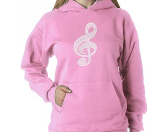 Women's Hooded Sweatshirt - Created Using a List of the Most Popular Classical Music Composers of all Time Note
